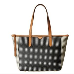 Fossil Sydney Shopper Tote - Black and White Dots